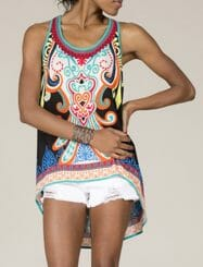 Was and Now - Fashion Clothing - Paisley Printed Round Neck Sleeveless T-shirts