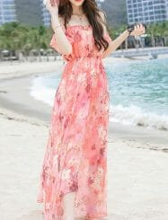 Was and Now - Fashion Clothing - Floral Printed Alluring Slash Neck Maxi-dress