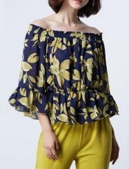 Was and Now - Fashion Clothing - Floral Printed Scoop Neck 3/4 Sleeve T-shirts