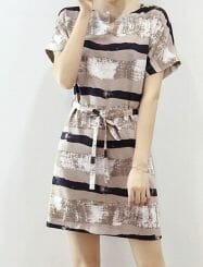 Was and Now - Fashion Clothing - Floral Stripes Designed Shift Dress
