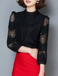 Was and Now - Fashion Clothing - Hollow Out Lace Delicate Crew Neck Blouses