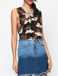 Was and Now - Fashion Clothing - Camouflage Printed Crew Neck Sleeveless T-shirts