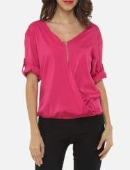 Was and Now - Fashion Clothing - Zips V Neck Dacron Plain Blouses