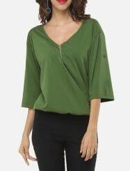 Was and Now - Fashion Clothing - Zips V Neck Elegant Dacron Plain Blouses