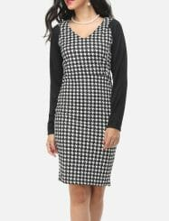 Was and Now - Fashion Clothing - Zips V Neck Houndstooth Patchwork Bodycon Dress