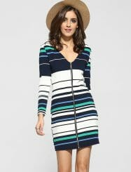 Was and Now - Fashion Clothing - Zips V Neck Knit Color Block Stripes Bodycon-dress