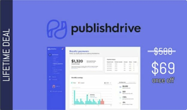 WAS AND NOW - Publishdrive Lifetime Deal for $69 WAS $588.00