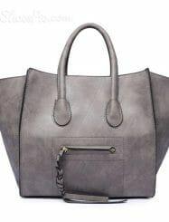 Shoespie PU Zipper and Stitch Design Handbag